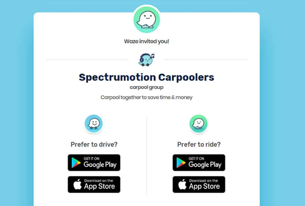 Spectrumotion Waze Carpool Group