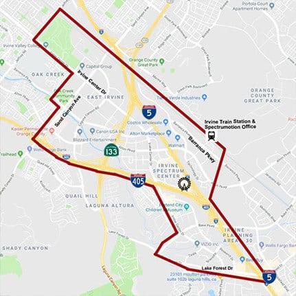 Irvine Spectrum Service Area Map