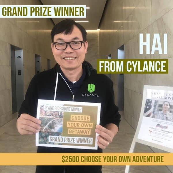 Irvine RideShare Month Winner