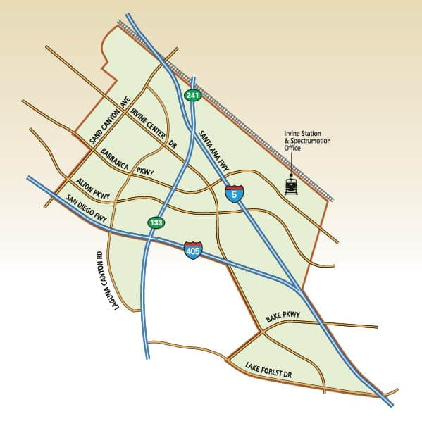 Irvine Spectrum Service Area Map